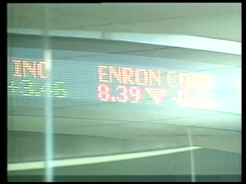 fraud convictions; file / date unknown new york: wall street: ext moving liquid display sign showing enron share prices in the red enron symbol - fraud stock videos & royalty-free footage
