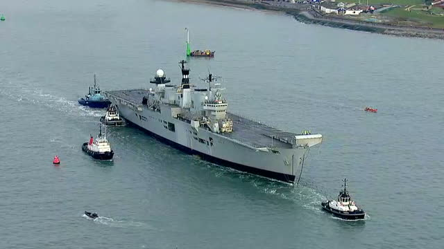 <> on december 07 2016 in portsmouth england - hms illustrious r06 stock videos and b-roll footage