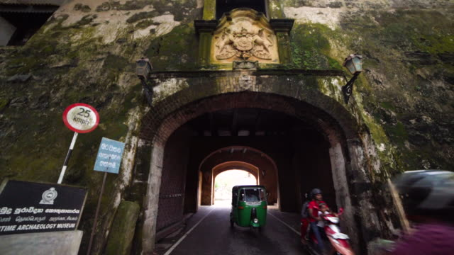 entering at galle fort gate, dutch colonial town at sri lanka - sri lankan culture stock videos & royalty-free footage
