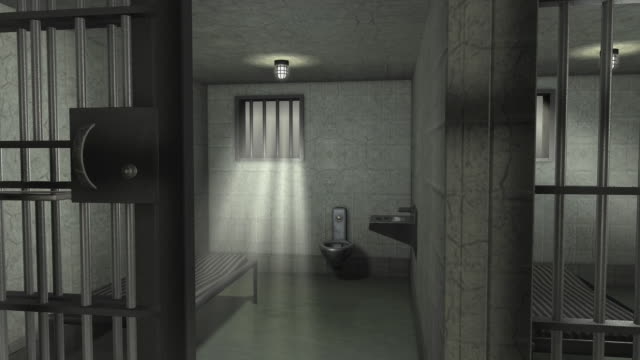 CGI DS entering prison cell and turning to reveal closing cell door