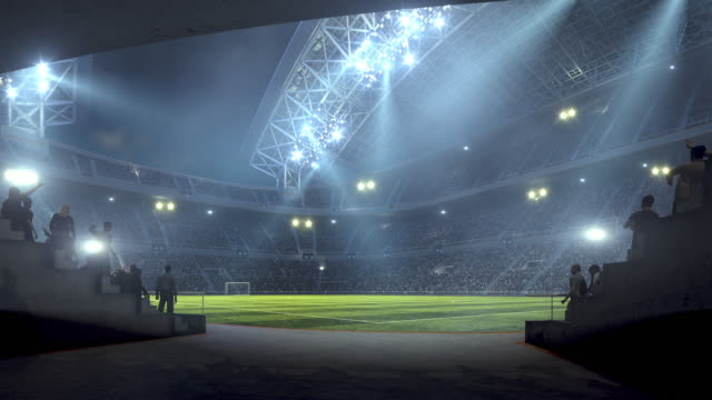 Entering soccer stadium from players zone