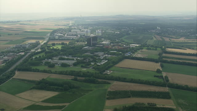 aerial zdf enterprises headquarters surrounded with fields, mainz, rhineland-palatinate, germany - television studio stock videos & royalty-free footage