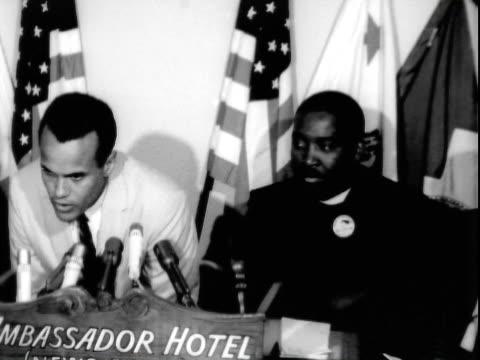 entertainer harry belafonte speaking at pre march on washington press conference ambassador hotel reverend dawson the negro american labor council in... - 30代の男性点の映像素材/bロール