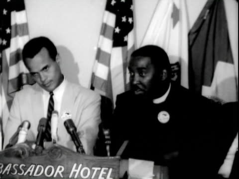 entertainer harry belafonte speaking at pre-march on washington press conference, ambassador hotel / reverend dawson + negro american labor council... - harry belafonte stock videos & royalty-free footage