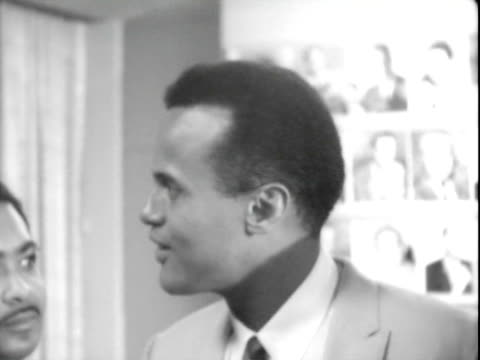 entertainer harry belafonte speaking with civil rights leaders including reverend dawson at pre march on washington press conference, ambassador... - harry belafonte stock videos & royalty-free footage