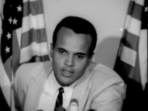 entertainer harry belafonte speaking with civil rights leaders including reverend dawson at premarch on washington press conference ambassador hotel... - one mid adult man only stock videos & royalty-free footage