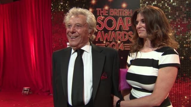 entertainer lionel blair stands with his daughter while he chats about bruce forsyth's departure from strictly come dancing. the british soap awards... - lionel blair stock videos & royalty-free footage