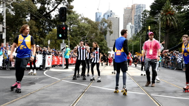 entertainers perform during the 2018 afl grand final parade on september 28, 2018 in melbourne, australia. - performer stock videos & royalty-free footage