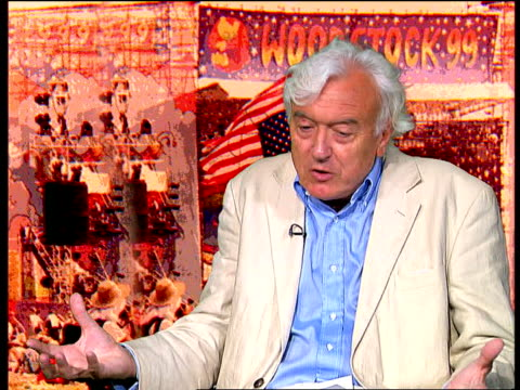 Woodstock Rioting ITN ENGLAND London Ray Connolly interview SOT talks about the original Woodstock festival in 1969