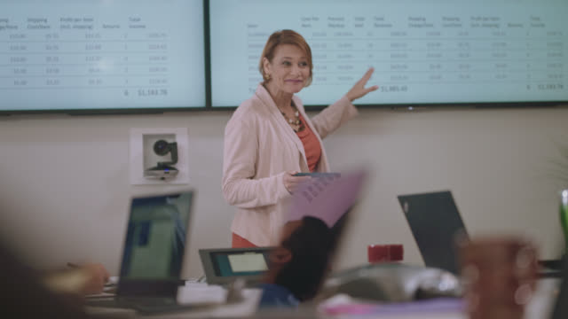 vidéos et rushes de enthusiastic businesswoman confidently leads a meeting as she answers questions and analyzes data on large digital monitors - discours