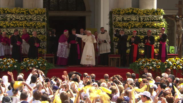 enthusiastic crowd, pope benedict xvi - pope stock videos & royalty-free footage