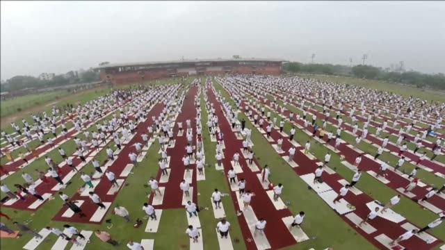 Enthusiasts stretch and bend to mark International Yoga Day in New Delhi joining millions of others across the globe to celebrate the ancient practice