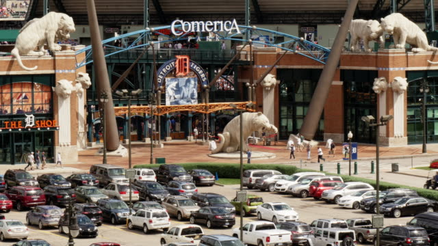 entrance comerica park stadium detroit. tiger statues, parking lot detroit tigers. view from above - detroit tigers stock videos & royalty-free footage