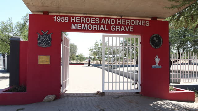 "entrance gate to the ""1959 heroes and heroines memorial grave"" cemetery, in honor of the deceased victims of the namibian revolution of december 10... - 1959 stock videos & royalty-free footage"