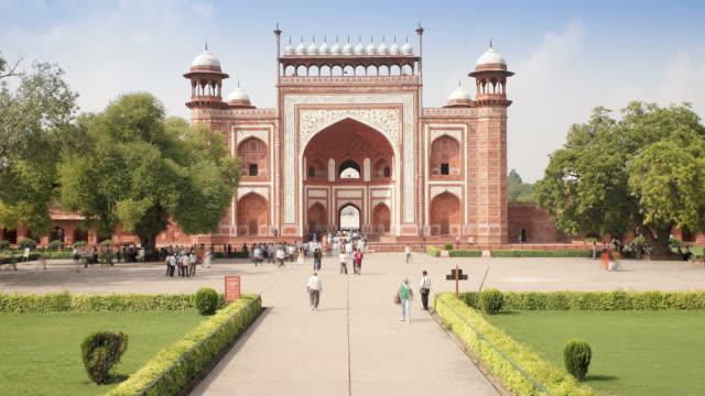 entrance gateway to the taj mahal, unesco world heritage site, agra, uttar pradesh state, india, asia - agra stock videos and b-roll footage