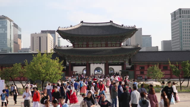 entrance in gyeongbokgung palace in seoul,south korea - south korea stock videos & royalty-free footage