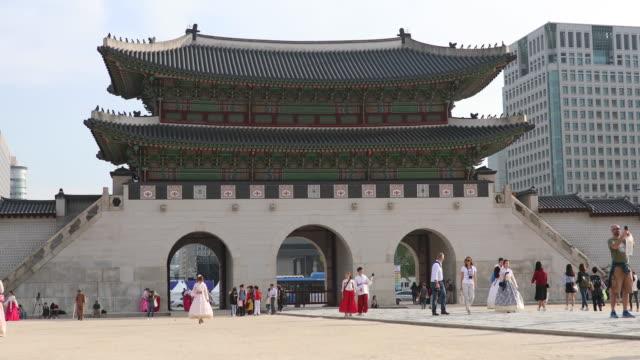 景福宮ソウル、南朝鮮の入口 - 韓国点の映像素材/bロール