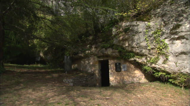 entrance of abri du poisson prehistoric cave in aquitaine, france - aquitaine stock-videos und b-roll-filmmaterial