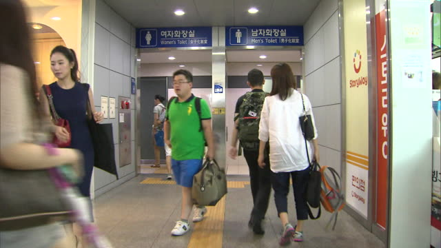 entrance of the seoul railroad station public toilet - public restroom stock videos and b-roll footage