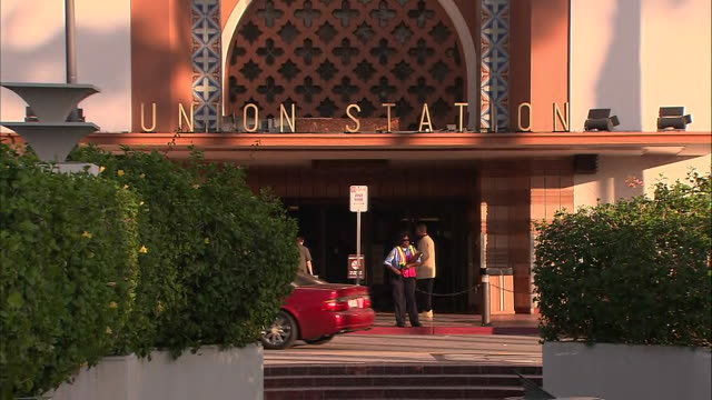 ms entrance of union station in los angeles - union station los angeles stock videos & royalty-free footage