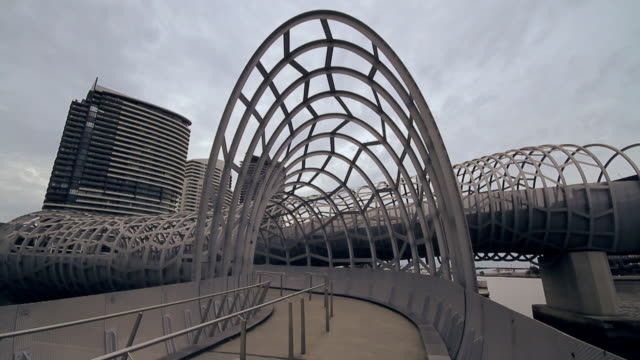 ws entrance of webb bridge / melbourne, victoria, australia  - musical instrument bridge stock videos & royalty-free footage