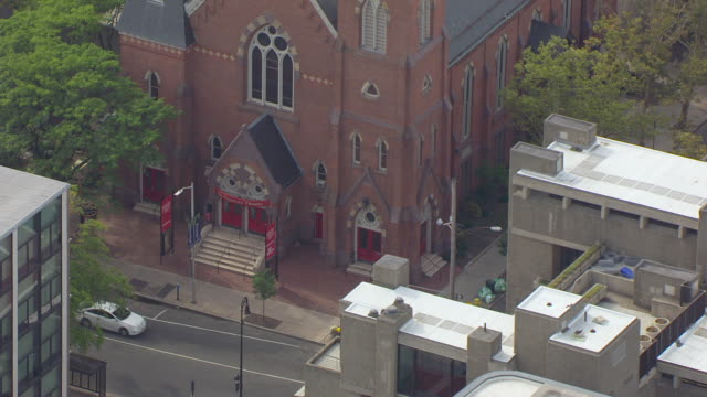 WS AERIAL POV Entrance of Yale Repertory Theatre on Chapel Street / New Haven, Connecticut, United States