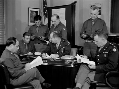 Entrance Signal Corps Photographic Center in Astoria New York INT Office w/ Colonel Giletter w/ other officers in meeting VS Filming on set Army...