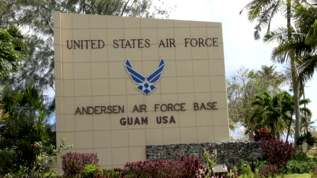 / entrance to andersen air force base. andersen air force base on april 01, 2013 in yigo, guam - stephenie hollyman stock videos & royalty-free footage