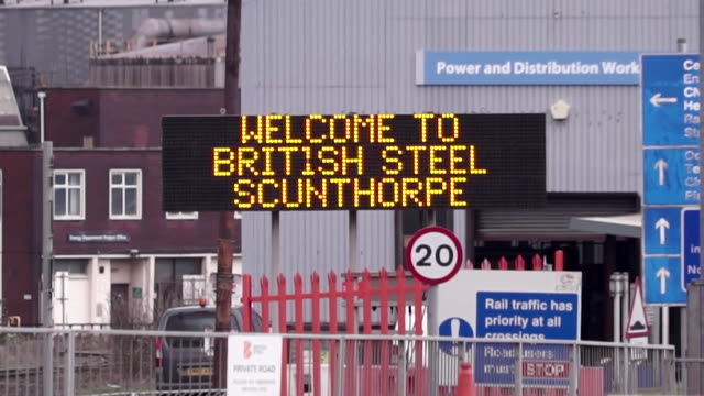 entrance to british steel plant in scunthorpe which has been bought by chinese company jingye - steel mill stock videos & royalty-free footage