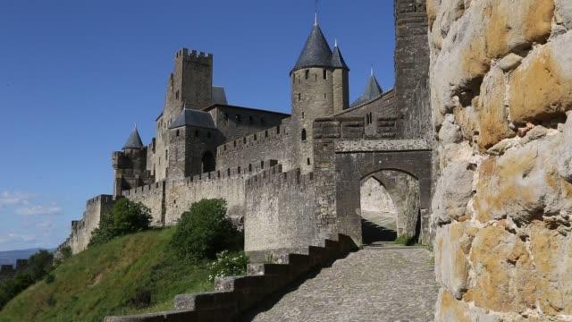 entrance to cité de carcassonne - carcassonne stock videos and b-roll footage