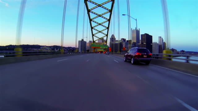 entrance to city across the bridge - pittsburgh stock videos & royalty-free footage