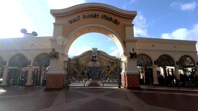 entrance to disneyland paris entertainment park on january 2, in paris, france. - disney stock videos & royalty-free footage