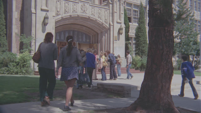 entrance to high school (glendale high, cba); w/activity - establishing shot stock videos & royalty-free footage