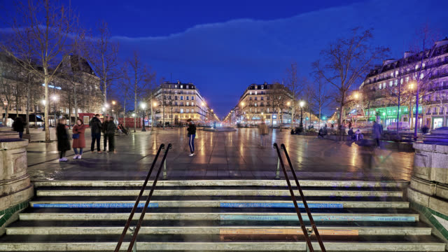 entrance to metro or subway. illuminated paris at night - dusk stock videos & royalty-free footage