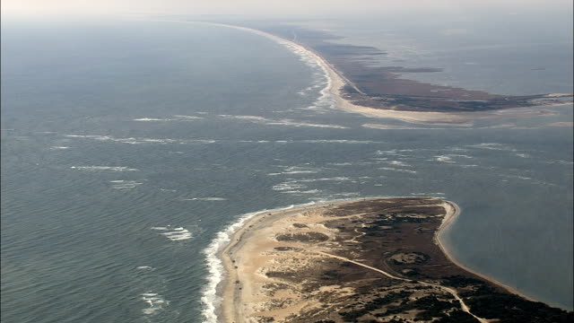 entrance to pamlico sound  - aerial view - north carolina,  hyde county,  united states - north carolina beach stock videos & royalty-free footage