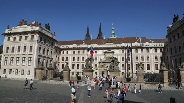 entrance to prague castle - hradcany castle stock videos and b-roll footage