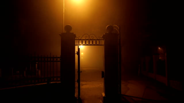 entrance to the cemetery at night.horror scene - building entrance stock videos & royalty-free footage