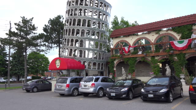 entrance to the italian food all you can eat restaurant the famous place is celebrating its 20 years of service it is known to be a fun family place... - italian food stock videos & royalty-free footage