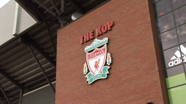 stockvideo's en b-roll-footage met entrance to 'the kop' general views at anfield on september 20, 2011 in liverpool, england - vrijetijdsfaciliteiten