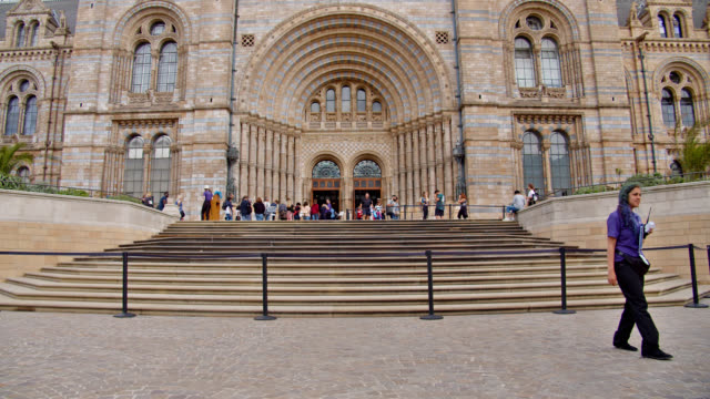 entrance to the natural history museum in london - entrance sign stock videos & royalty-free footage