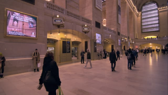 entrance to the tracks in grand central terminal in manhattan - station stock videos and b-roll footage