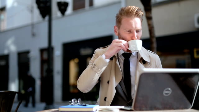entrepreneur drinking coffee espresso outdoors - ginger spice stock videos and b-roll footage