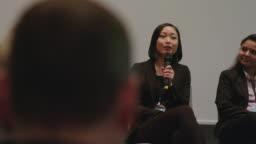 Entrepreneur explaining during launch event