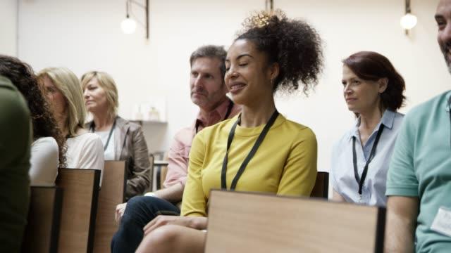 Entrepreneurs listening in training class