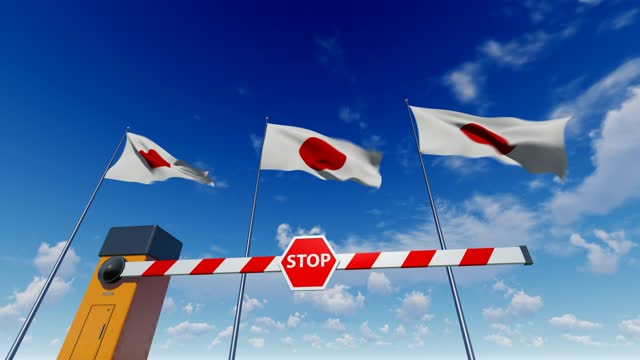 entry to japan is closed. barrier with stop sign - japan stock videos & royalty-free footage