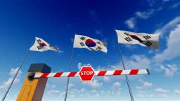 Entry to South Korea is closed. Barrier With Stop Sign