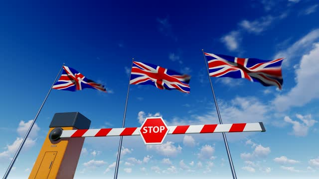 entry to united kingdom is closed. barrier with stop sign - accessibility stock videos & royalty-free footage