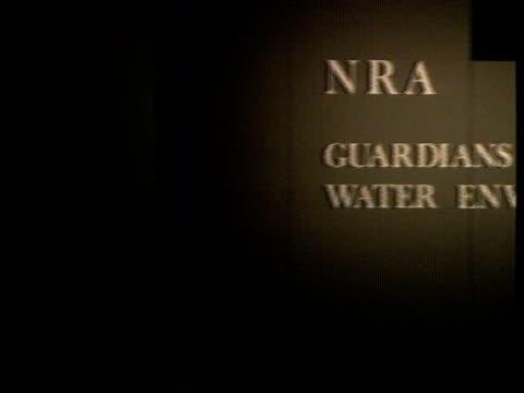 national rives authority int london tower hotel ms lord crickhowell presiding at launch of national rivers authority pan lr logo sign 'nra guardians... - crickhowell stock videos & royalty-free footage