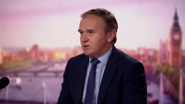 """environment secretary george eustice saying """"you cannot begrudge david cameron taking another job"""" after the greensill controversy - """"bbc news"""" stock videos & royalty-free footage"""
