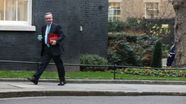 environment secretary michael gove arrives as government ministers attend the first cabinet meeting of the year at 10 downing street on january 9... - michael gove stock-videos und b-roll-filmmaterial